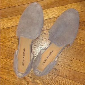 Lucky Brand grey suede flats/loafers